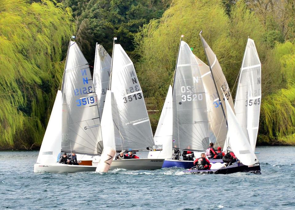 National 12 dinghies lining up to race